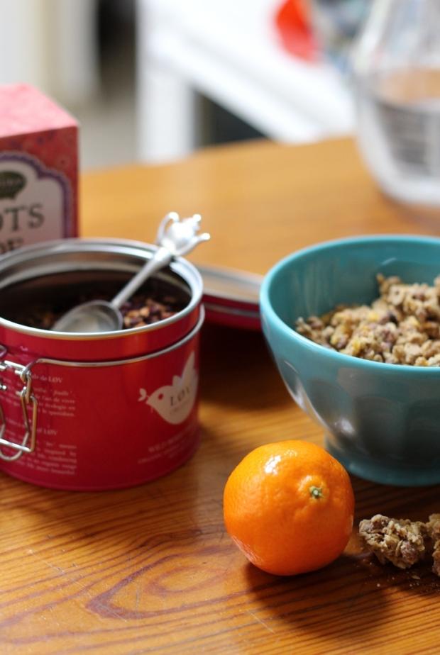 Un petit-déjeuner croustillant agrémenté de thés qui m'ont été offerts avec amour.